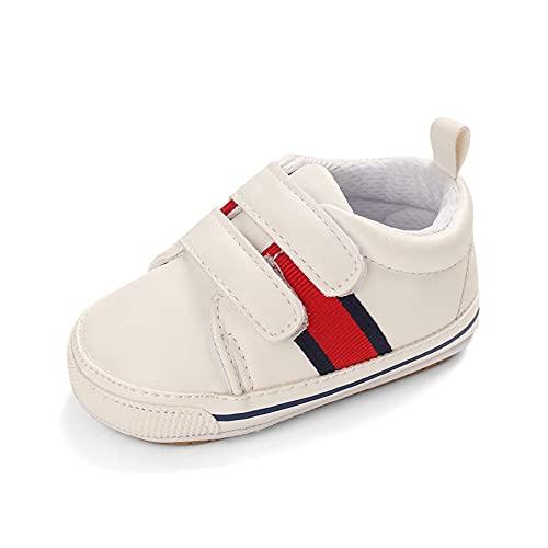 Cheerful Mario Scarpa per Bebè in Oxford Primi Passi per Bambini Moda Neonato Sneaker Suola Morbida Bianco Banda 6-12 Mesi