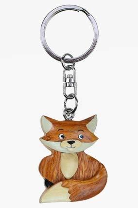 Cornelißen Schlüsselanhänger Fuchs, aus Holz und Metall, Füchse, Waldtier