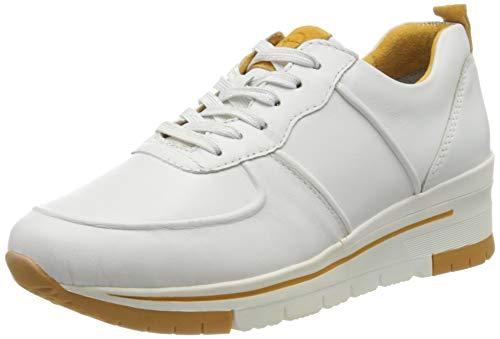 Tamaris Damen 1-1-23745-24 Sneaker, Weiß (White/Saffron 124), 39 EU