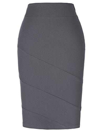 Kate Kasin Elastic Vintage Cotton Gray Retro Wear to Work Pencil Skirt M KK269-2