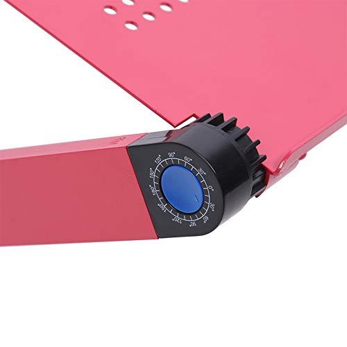 Surebuy Escritorio para portátil, Soporte de Mesa para portátil Antideslizante Plegable Ajustable de aleación de Aluminio con Orificio de emisión de Calor para el hogar para el Dormitorio(Rosa roja)