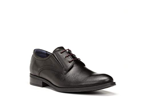 Zapatos Hombre con Cordones FLUCHOS, Piel Color Negro, Plantilla Extraible - 8410-201