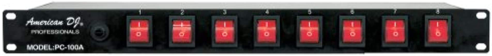 American DJ 8 channel AC power strip with 15 amp breaker and 8 on/off toggle switches. 19 inch rack mountable