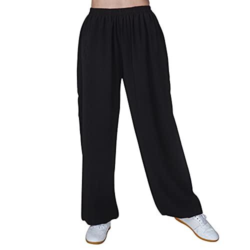 JTKDL Pantalones de Tai Chi Mujeres y Hombres Algodón y Lino Linternas de Entrenamiento de Artes Marciales Pantalones de Práctica de Tai Chi Ropa de Tai Chi,Black-Large