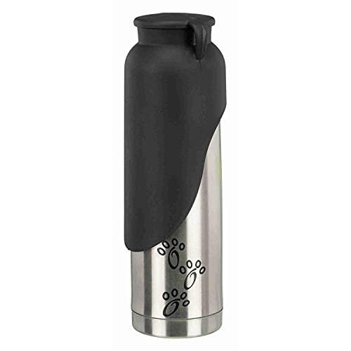 Trixie 24608 Thermoflasche mit Trinknapf, Edelstahl/Kunststoff, 0,5 l, silber/schwarz