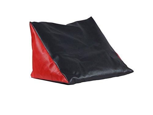Lesekissen schwarz-rot Rückenstütze aus Kunstleder für Bett; Couch, Fernsehen, Rückenkissen für bequemes sitzen, Keil- Nackenkissen mit Schaumstoffflocken