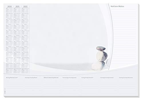 SIGEL HO370 Papier-Schreibunterlage, ca. DIN A2 - extra groß, mit 3-Jahres-Kalender 2020 - 2022 und Wochenplan, 30 Blatt - weitere Designs
