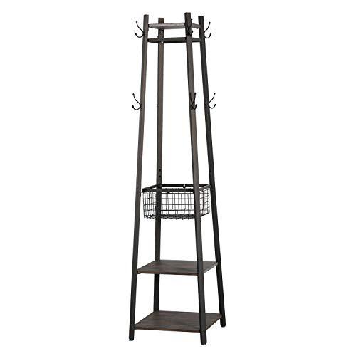 VECELO Perchero de pie con 4 estantes y 8 ganchos para pasillo, 182 cm, marrón (marrón, 45,5 x 45,5 x 182 cm)
