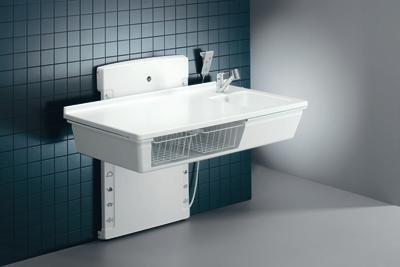 Pressalit R8684000 Wickel-Tisch mit sanitären Aritkeln, Waschbecken, Armatur, elektrisch höhen-verstellbar für Senioren, behindertengerecht, wandhängend (Abmessungen: 80 x 140 cm)