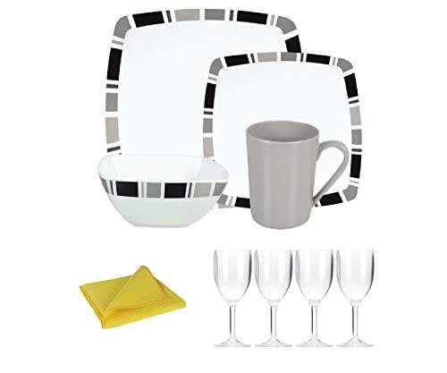 Moritz Ensemble vaisselle de camping en mélamine 4 personnes Motif carre + 4 verres à vin Transparent + 1 chiffon microfibre Jaune