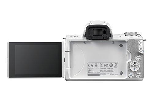 Canon EOS M50 Systemkamera spiegellos - mit Objektiv EF-M 18-150mm IS STM (24,1 MP, dreh- und schwenkbares 7,5 cm (3 Zoll) Touchscreen LCD, Digic 8, 4K Video, OLED EVF, WLAN, Bluetooth), weiß/silber