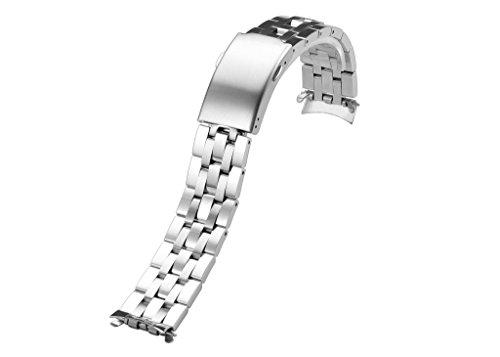 iStrap 19mm Orologio Cinturino Estremità Curvo Bracciale Draccialetto in Acciaio con Chiusura Déployante per Tissot PRC 200