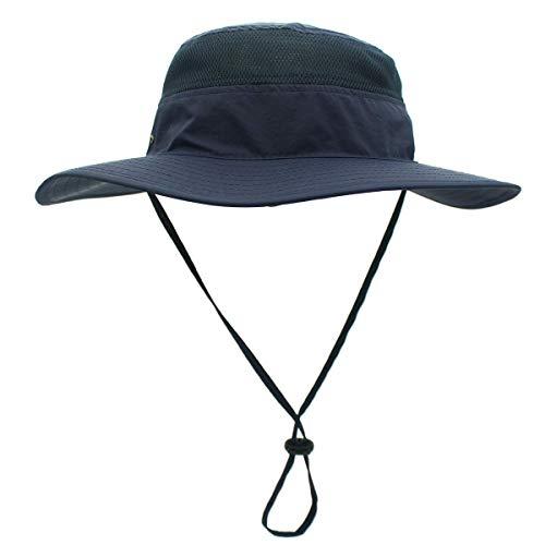 Dukars Sombrero unisex de ala ancha, protección solar UPF 50+ impermeable para verano, protección UV, Boonie, L, Azul Oscuro