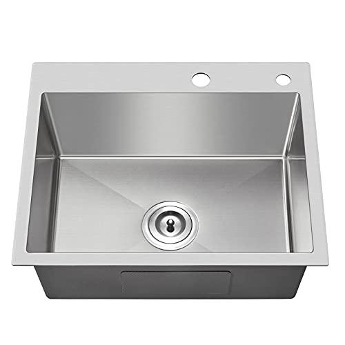 """MENATT 20-inch Drop in Kitchen Sink, SUS304 Stainless Steel Top-Mount Handmade Kitchen rv Sink, Single Bowl Sink with Basket Strainer, 20""""16""""9"""" (Brushed)"""