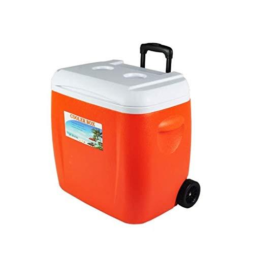 Cooler Box Met Wielen, Multifunctionele Huishoudelijke PU Vriezer Buiten Draagbare Elektrische Koelbox 38L ORANJE