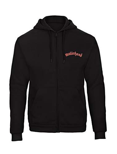 Motörhead Punk Rock Music Fun Bestickte Logo Sweatjacken Kapuzenpullover mit Reißverschluss Premium Qualität - 9159 - SW (L)