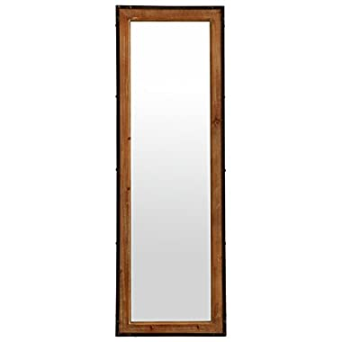 Stone & Beam Wood and Iron Mirror, 42.25  H, Natural Wood and Black