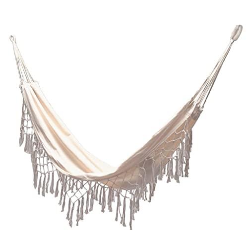 WZHZJ Bohemian Tassel Macrame Hammock Tree Hammock Swing Bed Bed Macrame Sedia Pieghevole Confortevole per Camp Beach Pagiooyard