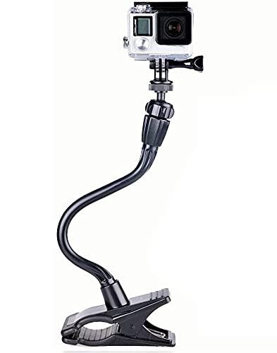 Smatree Ajustable Jaws Flessibile Morsetto Supporto con 13,4' Extension +Sacchetto per GoPro Hero 10/9/8/7/6/5/4/3+/3/2/1/Session/DJI OSMO Action,per Ricoh Theta S, M15, Fotocamere Compatte(1/4' Filo)