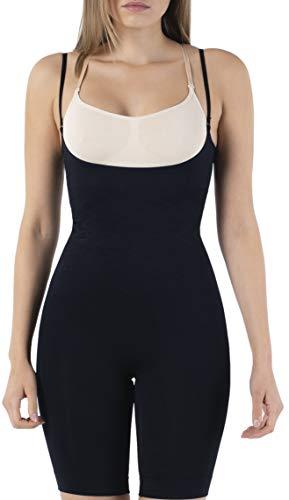 UnsichtBra Shapewear Damen Bauch Weg Body | Bauchweg Unterwäsche mit Korsett - Funktion | Bodyshaper für Frauen in Schw, weiß und beige (sw_2100)(M (40-46),Schw.)