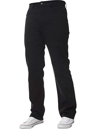 NEU Herren Gerade Leg Einfach schwer Works Jeans Denim Hose alle Hüfte groß Größen - Schwarz, 40W x 28L