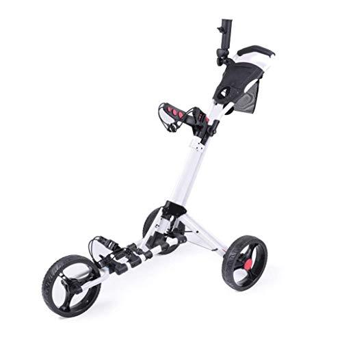 Carro de empuje de golf Carro de mano plegable de 3 ruedas Carro de empujar y tirar fácil Carro con sombrilla y soporte para tee Carro de tiro de golf de apertura y cierre rápido