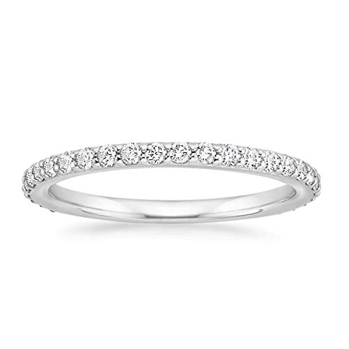 PAVOI 14K Gold Plated Sterling Silver Cubic Zirconia Diamond Stackable Eternity Bands White Gold for Women Size 9