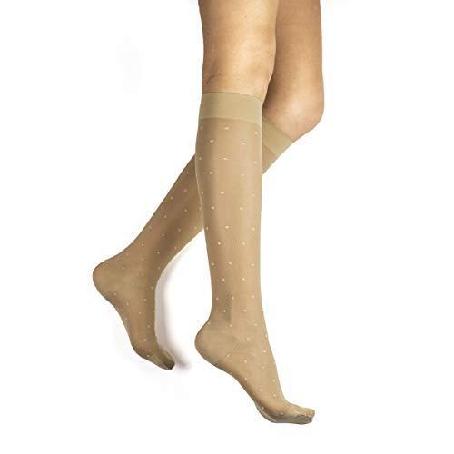 20-30 mmHg Knee High Graduated Compression Stockings – Rejuva, Sheer Dot for Women