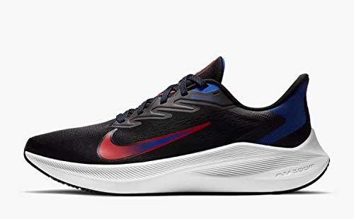Nike Tênis de corrida masculino Air Zoom Winflo 7 casual tamanho EUA, Preto, 10