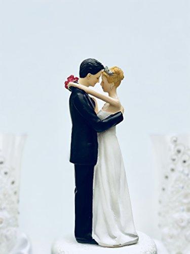 DreamWedding-UK Décoration de gâteau de mariage humoristique avec inscription The Love Pinch' en résine artificielle Noir/blanc 5 x 12 x 12 cm