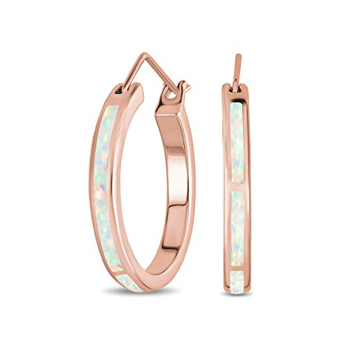 Creado rosa opal inlay plana tubo grande aro pendientes para las mujeres rosa oro plateado 925 plata esterlina octubre piedra de nacimiento