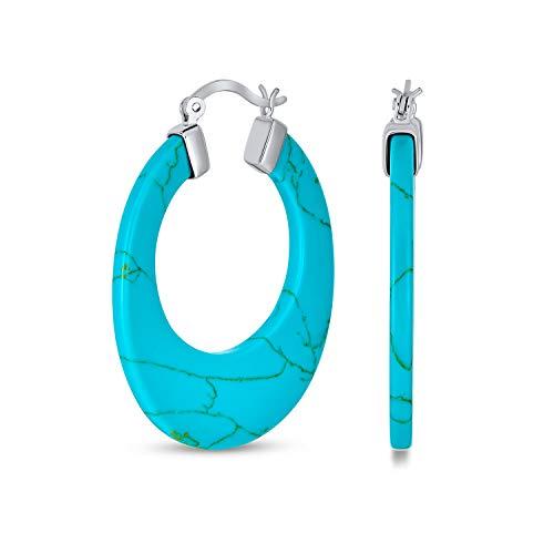 Pendientes de aro grande redondo redondo piedra preciosa turquesa estabilizado para las mujeres 925 plata de ley 1.5 pulgadas de diámetro