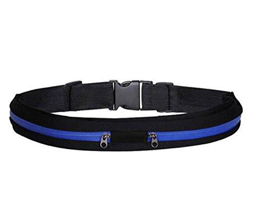 Boolavard Sport elastische Bauchtasche - Ideales Sport-Accessoire zum Verstauen solcher Gegenstände, wie Handy, Schlüssel, MP3 Player, Portemonnaie usw. (Blau)