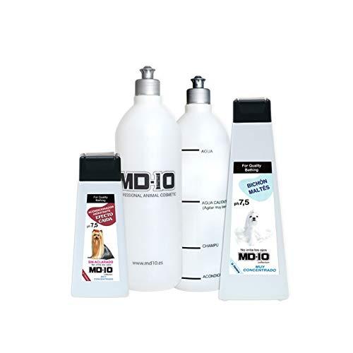 MD-10 COLLECTION Pack Champú Bichón Maltés 750ml + Acondicionador Hidratante 300ml + 2 Botellas Mezcladoras