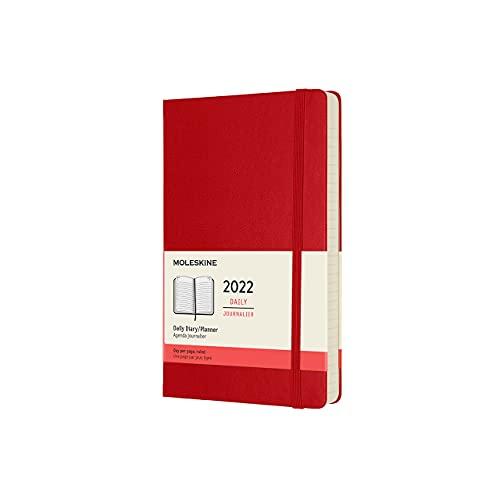 Moleskine Agenda Giornaliera 12 Mesi 2022, con Copertina Rigida, Formato Large 13 x 21 cm, Rosso (Rosso Scarlatto)