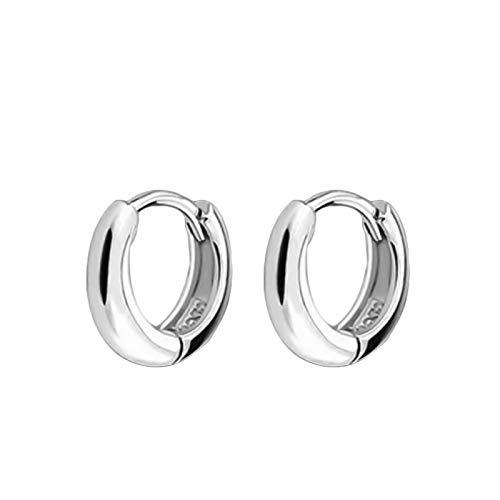 Ruby569y Pendientes colgantes para mujeres y niñas, para hombres y mujeres, chapados en plata, pequeños aros lisos, para fiestas, joyas, regalo de plata