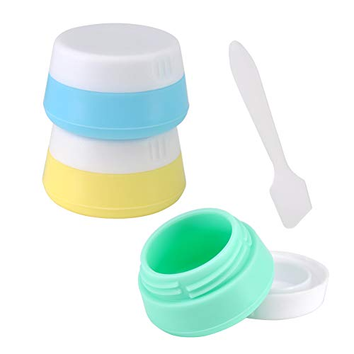 Silicone Cream Jars TSA Approved Travel Size Accessories Containers Leakproof Bottles with Hard Sealed Lids 20ml Per Piece for Face Hand Body Cream Perfect for Short-term Travel(3 Pack)