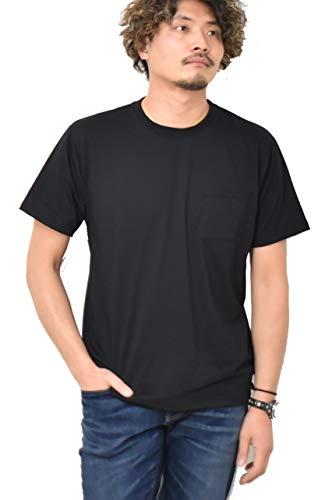 EDWIN エドウィン ハタラクTシャツ 胸ポケット 仕事着 無地 汚れにくい 色褪せにくい クルーネック ETH001 (75:ブラック, Lサイズ)