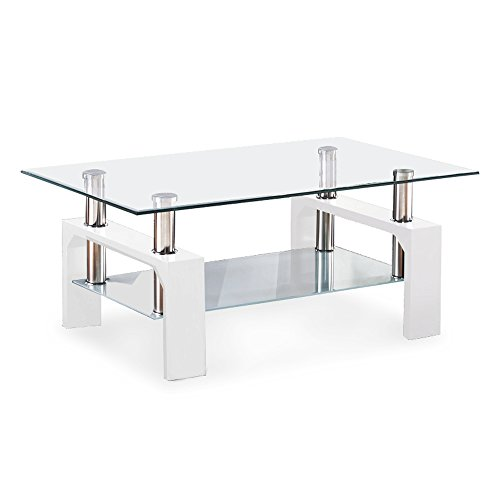 Mecor Rectangle Glass Coffee Table-White Modern Side Coffee Table with Lower Shelf Metal Legs-Suit for Living Room
