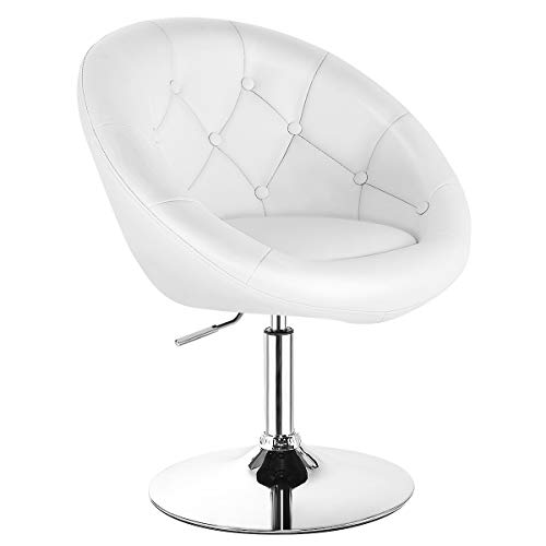 Costway Swivel Accent Chair, Contemporary Makeup Chair with Chrome Frame, Height-Adjustable, Tufted Round-Back, Modern Vanity Chair for Lounge, Pub, Bar, White