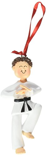 Ornament Central OC-024-MBR Male Karate Christmas Ornament, 3-1/2-Inch, Brown