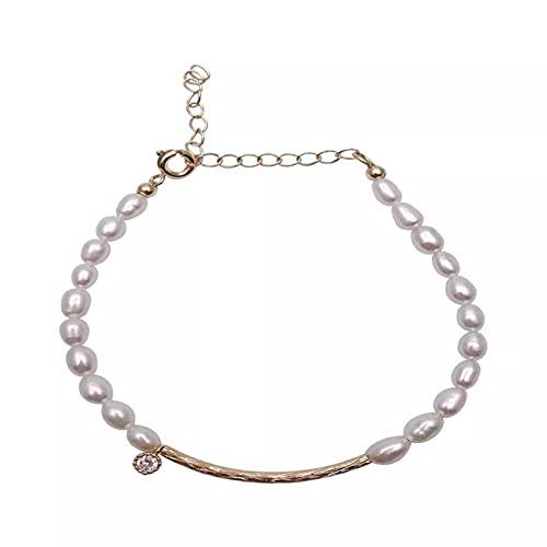 QiuYueShangMao Pulsera de Perlas de Agua Dulce para Mujer, joyería de tocador,...
