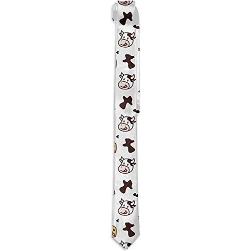 Heren nieuwe dunne stropdas voor bruiloft kantoor koeienmelk kaas stropdas