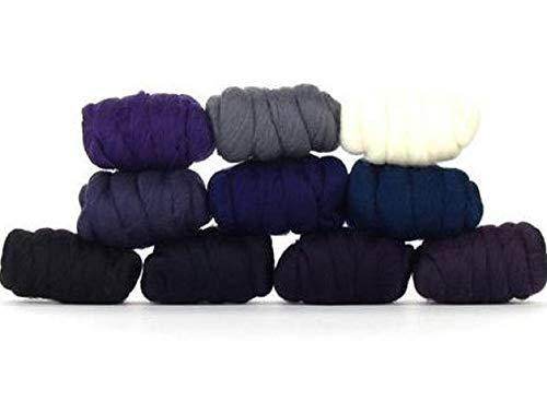 Paradise Fibers Tasche aus Merinowolle – Sternennacht (mehrfarbig) – Merinowolle, ideal zum Filzen, Nassfilzen, Handspinnen und Verblenden