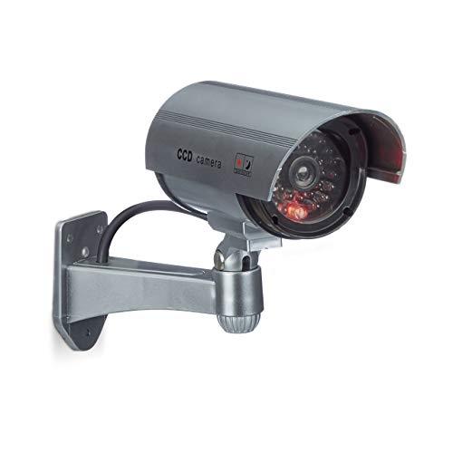 Relaxdays Dummy Kamera mit LED-Licht, Wandhalterung, für Innen- und Außenbereich, Dummy Camera, Sicherheitskamera, drahtlos, silber