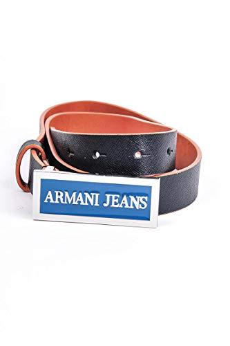 ARMANI JEANS CINTA DONNA/UOMO PELLE SAFFIANO BLU H 2,5 CM FIBBIA STAMP AJ15CC20
