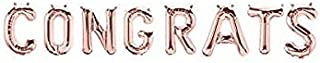 """Hanging Foils Balloons """"CONGRATS """" Letters - 16"""" Rose Gold Air Balloons - Set of 6 Alphabetic Balloons - Perfect for Bridal Shower or any Party Decorations - Comes with Straw and Balloon"""