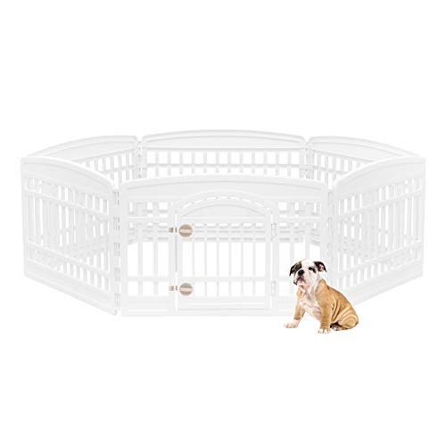 IRIS USA 24'' 6 Panel Exercise Pet Playpen with Door, White (586685)