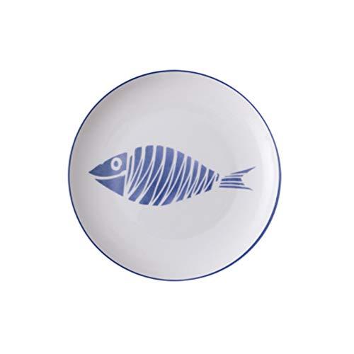 Plato Placa de cena de cerámica de 1 UNID plato de plato de 8 pulgadas vajilla de cerámica placa de porcelana linda (Color : A, Plate Size : 8 inches)