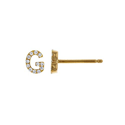 Social Value 14K Solid White Gold Natural Diamond Initial 'G' Letter Mix & Match SINGLE Stud Earring (Half Pair)